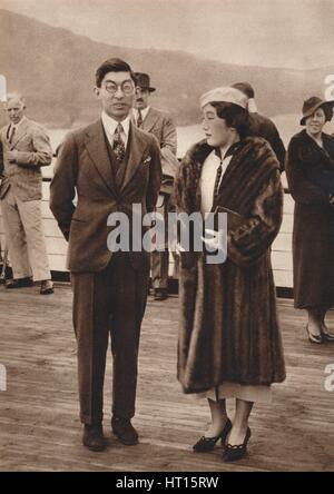 'Prince and Princess Chichibu arriving on the Queen Mary, April 12th', 1937. Artist: Unknown. - Stock Photo