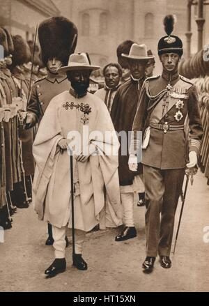 'Ras Tafari, Prince Regent of Ethiopia (Emperor Haile Selassie) with the Duke of York', 1924. Artist: Unknown. - Stock Photo