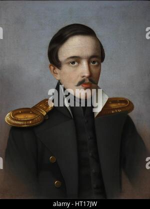 Portrait of the poet Mikhail Lermontov (1814-1841), 1887. Artist: Krylov, G.F. (active 1880s) - Stock Photo