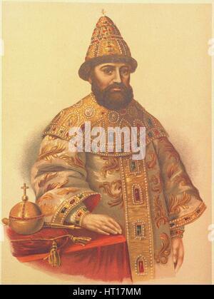 Portrait of the Tsar Michail I Fyodorovich of Russia (1596-1645), 1860s. Artist: Borel, Pyotr Fyodorovich (1829 - Stock Photo