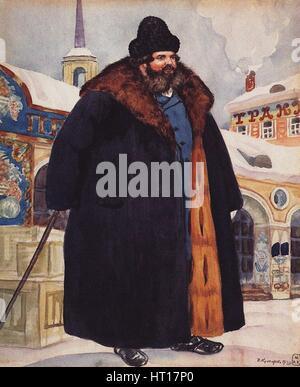Merchant in a fur coat, 1920. Artist: Kustodiev, Boris Michaylovich (1878-1927) - Stock Photo