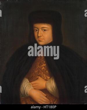 Portrait of the Tsarina Natalia Naryshkina (1651-1694), wife of tsar Alexis I of Russia, First third Artist: Anonymous - Stock Photo