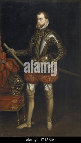Portrait of Philip II (1527-1598) in armour from the battle of Saint Quentin, Early 17th century. Artist: Anonymous - Stock Photo