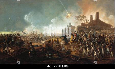 The Duke of Wellington at la Haye Sainte. The Battle of Waterloo. Artist: Sadler, William (1782-1839) - Stock Photo