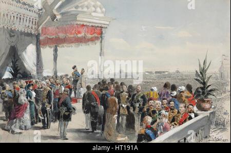 Public festivities following the coronation of Emperor Alexander III on Khodynka Field, 1883. Artist: Makovsky, - Stock Photo