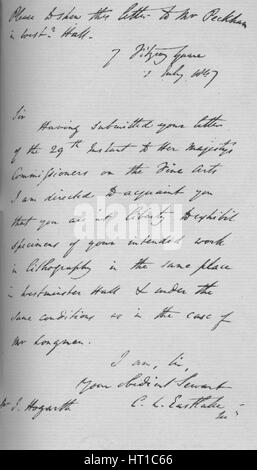A letter from Charles Lock Eastlake, 1847 (1904). Artist: Charles Lock Eastlake. - Stock Photo