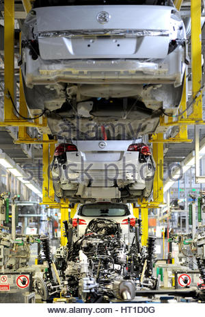 File photo dated 21/03/11 of the Vauxhall Astra production line at the Vauxhall Motors factory in Ellesmere Port, - Stock Photo