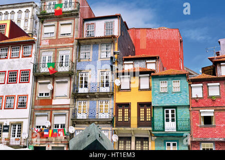 Portugal: Traditional houses in the riverside township Ribeira in Oporto - Stock Photo