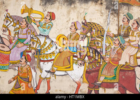 Detail from a large piece of wall art in the center of Udaipur, India, displaying the level of detail shown by traditional - Stock Photo