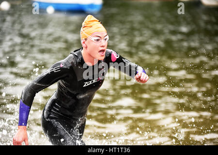Open Water Swimming Event  Ullswater lake, Cumbria UK - Stock Photo