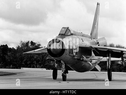 English Electric Lightning F6 Fighter/Interceptor aircraft. at RAF Tengah, Singapore - Stock Photo