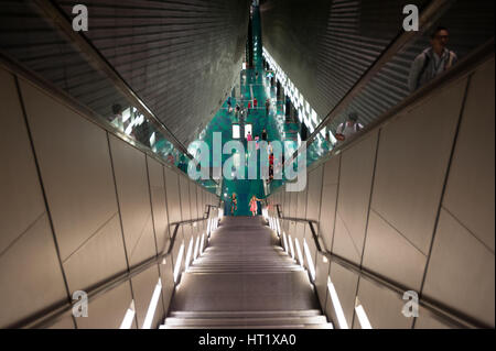 02.09.2016, Singapore, Republic of Singapore - Stairwell to the Stadium MRT Station. - Stock Photo