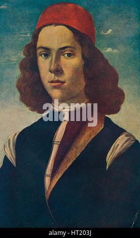 Portrait of a Young Florentine Nobleman, c15th century, (1907). Artist: Sandro Botticelli - Stock Photo