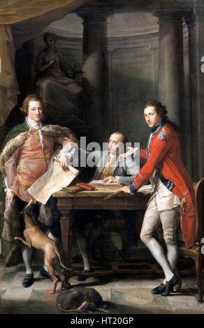 'Sir Watkin Williams Wynn, Thomas Apperley, and Captain Edward Hamilton', 1768-72 Artist: Pompeo Batoni. - Stock Photo