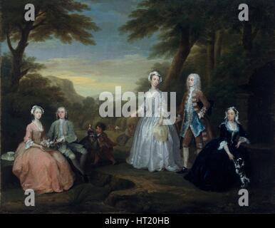 'The Jones Family Conversation Piece', 1730. Artist: William Hogarth. - Stock Photo
