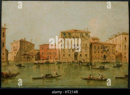 'View of the Palazzo Loredan dell'Ambasciatore on the Grand Canal, Venice,' 1775-85. Artist: Francesco Guardi. - Stock Photo