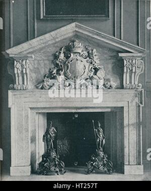 'Carved Marble Chimneypiece by William Kent (1685-1748). In the Public Dining-Room at Hampton Court, Artist: Unknown. - Stock Photo