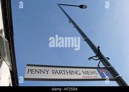 street name sign for penny farthing mews, hampton hill, middlesex, england - Stock Photo