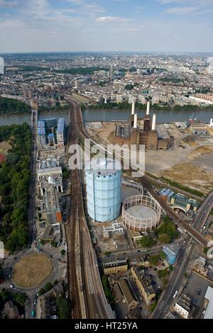 Battersea Power Station and Gasworks, London, 2006. Artist: Historic England Staff Photographer. - Stock Photo