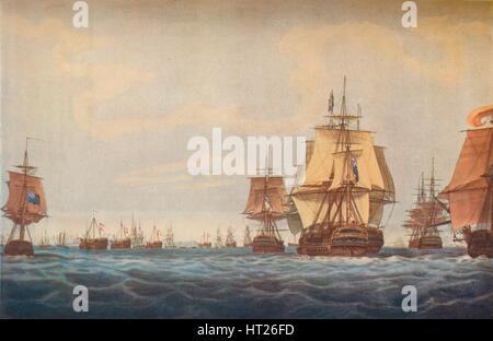 'Battle of Copenhagen 1801. British Fleet Approaching', 1801. Artists: Robert Pollard, JG Wells. - Stock Photo