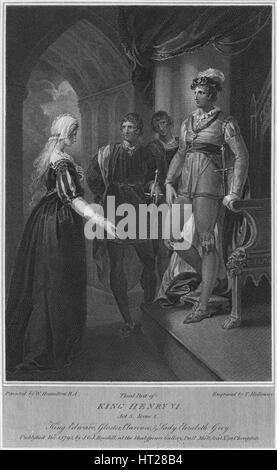 'Third Part of King Henry VI. Act 3. Scene 2. King Edward, Gloucester, Clarence & Lady Elizabeth Gre Artist: Thomas - Stock Photo