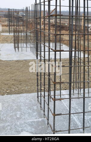 A big hole of pole in construction site building prepare for concreting - Stock Photo