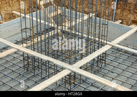 A big hole of pole in construction site building prepare for pouring cement - Stock Photo