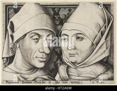 Self-Portrait with wife Ida, c. 1490. Artist: Meckenem, Israhel van, the Younger (ca 1440-1503) - Stock Photo