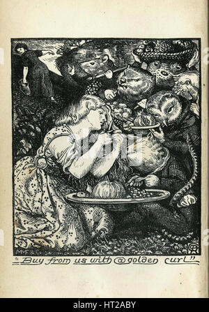 Frontispiece of Goblin Market and Other Poems by Christina Rossetti, 1861-1862. Artist: Rossetti, Dante Gabriel - Stock Photo