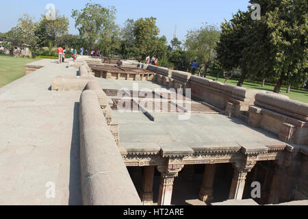 The top area above Adalaj Step Well, Ahmedabad, Gujarat, India - Stock Photo