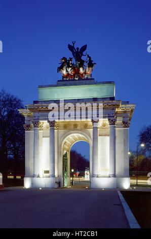 The Wellington Arch, Hyde Park Corner, London, c2000s(?). Artist: Unknown. - Stock Photo