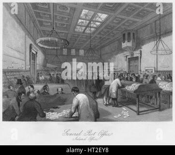 'General Post Office. Inland Office', c1841. Artist: Thomas H Ellis. - Stock Photo