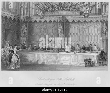'Lord Mayors Table, Guildhall. Grand Banquet on the 9th November', c1841. Artist: John Shury. - Stock Photo