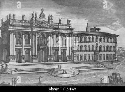 'Basilica di San Giovanni in Laterano. Basilique de St. Jean de Latran', c19th century. Artist: Unknown. - Stock Photo