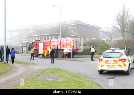 Luton, UK. 06th Mar, 2017. A major fire occurred at the Asda superstore on Wigmore Lane in Luton around lunchtime. - Stock Photo