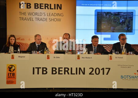 Berlin, Germany. 7th Mar, 2017. Tshekedi Khama II, Minister of Tourism of Botswana, at the opening press conference - Stock Photo