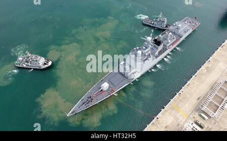 Sanya. 7th Mar, 2017. Missile destroyer Changsha returns to a port in Sanya City, south China's Hainan Province, - Stock Photo