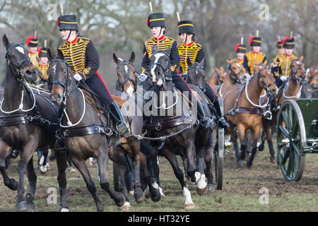 Woolwich, London, UK. 7th March, 2017. King's Troop Royal Horse Artillery have had their Annual Inspection at the - Stock Photo
