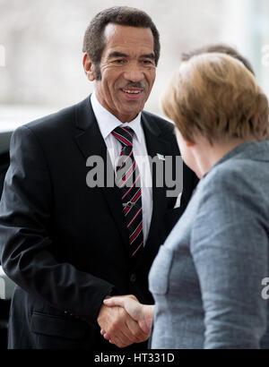 Berlin, Germany. 7th Mar, 2017. German chancellor Angela Merkel welcomes President Seretse Khama Ian Khama of Botswana - Stock Photo