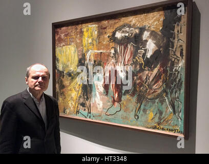 Moscow, Russia. 6th Mar, 2017. Berlin art historian Eckhart Gillen standing next to the painting 'Three months after - Stock Photo