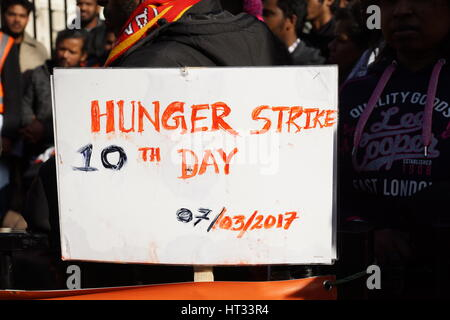 London, UK. 7th March 2017. Tamil activist Thiru Kumaran enters 10th day of hunger strike in Whitehall, opposite - Stock Photo