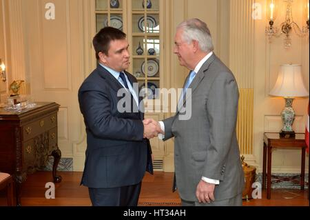 Washington, United States Of America. 07th Mar, 2017. U.S. Secretary of State Rex Tillerson welcomes Ukrainian Foreign - Stock Photo