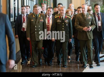 Marine Corps Gen. Joseph Dunford Jr., right, chairman of the Joint Chiefs of Staff, speaks with Gen. Hulusi Akar - Stock Photo
