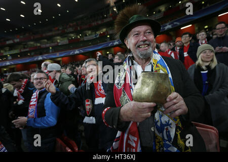 London, UK. 7th Mar, 2017. A supporter of Bayern Munich looks on ahead of the UEFA Champions League Round of 16 - Stock Photo