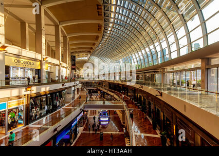 Shopping mall The Shoppes, Mall at Marina Bay Sands, Singapore - Stock Photo