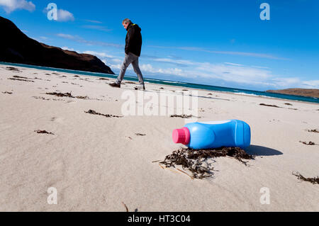 Plastic bottle waste pollution on Maghera beach, Ardara, County Donegal, Ireland - Stock Photo