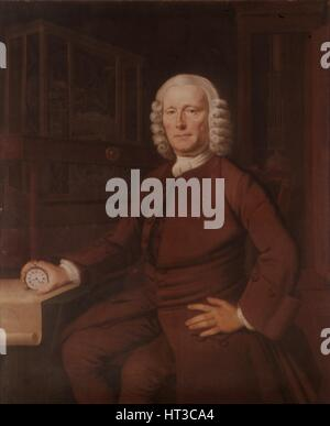 John Harrison (1693-1776). Inventor of the marine chronometer  in 1757, (20th century).  Artist: Thomas King. - Stock Photo