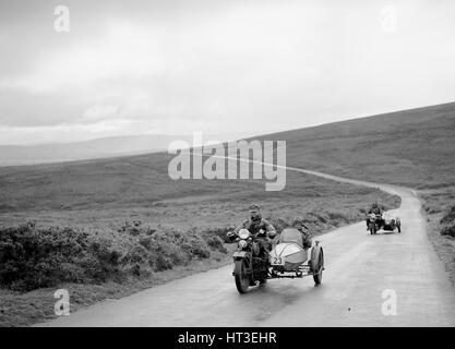 1208 cc Harley-Davidson and sidecar of RW Praill, winner of a silver award, MCC Torquay Rally, 1937. Artist: Bill - Stock Photo