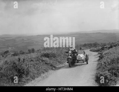 Harley-Davidson and sidecar of RW Praill competing in the MCC Torquay Rally, 1938. Artist: Bill Brunell. - Stock Photo