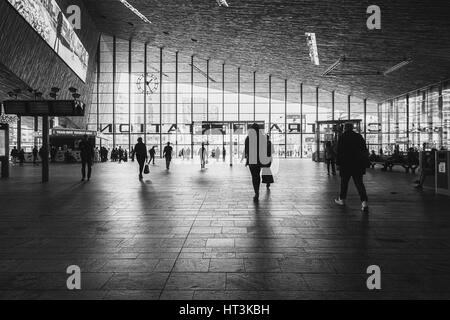 Rotterdam, Netherlands – May 26, 2016: Picture of the hall with travelers in the Central Station Rotterdam. - Stock Photo